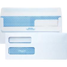 "Quality Park Double Window Redi-Seal Envelopes - Security - #10 - 9 1/2"" Width x 4 1/8"" Length - 24 lb - Gummed - Wove - 500 / Box - White"