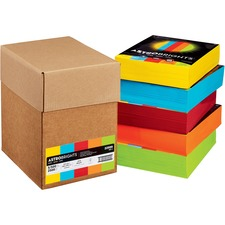 "Astrobrights Inkjet, Laser Colored Paper - Solar Yellow, Lunar Blue, Re-entry Red, Cosmic Orange, Terra Green - Letter - 8 1/2"" x 11"" - 24 lb Basis Weight - FSC"