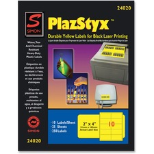 SJP SL24020 SJ Paper PlazStyx Durable Laser Printing Labels SJPSL24020