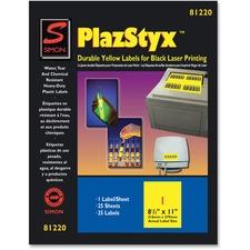 SJP SL81220 SJ Paper PlazStyx Durable Laser Printing Labels SJPSL81220
