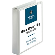 "Business Source Round-ring View Binder - 1 1/2"" Binder Capacity - Letter - 8 1/2"" x 11"" Sheet Size - 350 Sheet Capacity - Round Ring Fastener(s) - 2 Internal Pocket(s) - Polypropylene - White - 1 Each"