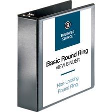 "Business Source Round-ring View Binder - 3"" Binder Capacity - Letter - 8 1/2"" x 11"" Sheet Size - 625 Sheet Capacity - Round Ring Fastener(s) - 2 Internal Pocket(s) - Polypropylene - Black - Wrinkle-free, Gap-free Ring, Clear Overlay, Non Locking Mechanism"