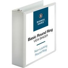 "Business Source Round-ring View Binder - 3"" Binder Capacity - Letter - 8 1/2"" x 11"" Sheet Size - 625 Sheet Capacity - Round Ring Fastener(s) - 2 Internal Pocket(s) - Polypropylene - White - Wrinkle-free, Gap-free Ring, Clear Overlay, Non Locking Mechanism"
