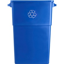 "Genuine Joe 23 Gallon Recycling Container - 87.06 L Capacity - Rectangular - 30"" Height x 22.5"" Width x 11"" Depth - Blue, White"