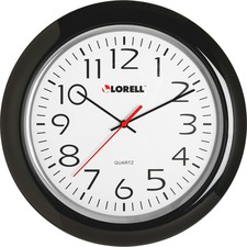 "Lorell 13-1/4"" Round Quartz Wall Clock - Analog - Quartz - White Main Dial - Black/Plastic Case"