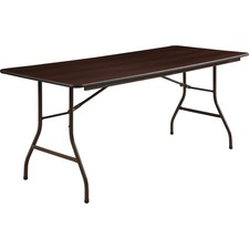"Lorell Economy Folding Table - Melamine Rectangle Top - 72"" Table Top Length x 30"" Table Top Width x 0.6"" Table Top Thickness - 29"" Height - Mahogany"