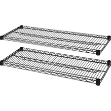 "Lorell Industrial Wire Shelving - 48"" x 24"" x 1.6"" - 2 x Shelf(ves) - 907.18 kg Load Capacity - Black - Steel - Assembly Required"