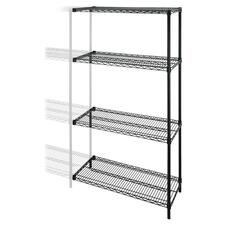 "Lorell Industrial Wire Shelving Add-On-Unit - 48"" x 24"" x 72"" - 4 x Shelf(ves) - 453.59 kg Load Capacity - Black - Steel - Assembly Required"
