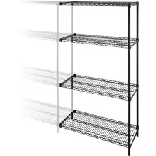 "Lorell Add-on Unit - 48"" x 18"" x 72"" - 4 x Shelf(ves) - 1814.37 kg Load Capacity - Black - Steel - Assembly Required"