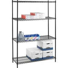 LLR 69140 Lorell Industrial Black Wire Shelving LLR69140
