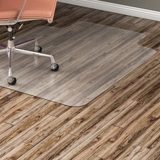 "Lorell Hard Floor Wide Lip Vinyl Chairmat - Hard Floor, Wood Floor, Vinyl Floor, Tile Floor - 53"" (1346.20 mm) Length x 45"" (1143 mm) Width x 95 mil (2.41 mm) Thickness - Lip Size 12"" (304.80 mm) Length x 25"" (635 mm) Width - Vinyl - Clear"