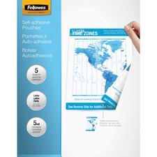 FEL 52205 Fellowes Self-adh Letter Size Laminating Pouches FEL52205