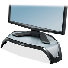 """Fellowes Smart Suites Corner Monitor Riser - Up to 21"""" Screen Support - 40 lb Load Capacity - Flat Panel Display Type Supported - 5.1"""" Height x 18.5"""" Width x 12.5"""" Depth - Desktop - Acrylonitrile Butadiene Styrene (ABS) - Black, Gray"""