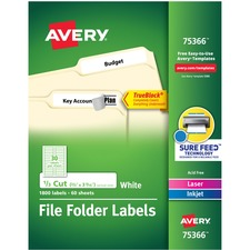 AVE 75366 Avery TrueBlock Tech. Lsr/Inkjt File Folder Labels AVE75366