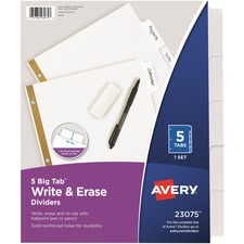 AVE 23075 Avery Big Tab Eraseable Write-On Dividers AVE23075