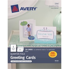 AVE 03266 Avery Personal Creation White Quarter-Fold Cards AVE03266