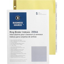 BSN 20066 Bus. Source Insertable 5-Tab Ring Binder Indexes BSN20066