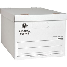 "Business Source Economy Storage Box with Lid - External Dimensions: 12"" Width x 15"" Depth x 10""Height - 350 lb - Media Size Supported: Legal, Letter - Light Duty - Stackable - White - For File - Recycled - 12 / Carton"