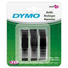 "Dymo 1741670 Glossy Embossing Tape - 3/8"" Width x 117 3/5"" Length - Rectangle - Black - Vinyl - 3 / Pack"