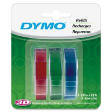 "Dymo 1741671 Glossy Embossing Tape - 3/8"" Width x 117 3/5"" Length - Rectangle - Blue, Red, Green - Vinyl - 3 / Pack"
