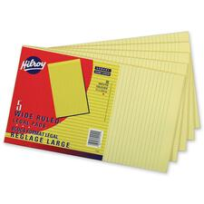 """Hilroy Figuring Pad - 90 Sheets - 0.31"""" Ruled - 8 3/8"""" x 14"""" - Canary Paper - 5 / Pack"""