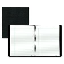 """Blueline Ecologix A9SE Notebook - 160 Pages - Twin Wirebound - Ruled - 8 7/8"""" x 7 1/8"""" - Black Cover - Micro Perforated, Easy Peel - Recycled - 1Each"""