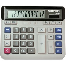 "Victor 12-digit XL LCD Desktop Calculator - Independent Memory - 12 Digits - LCD - Battery/Solar Powered - 7.5"" x 6"" x 1.6"" - 1 Each"