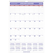 "At-A-Glance Wall Calendar - Julian Dates - Monthly - 1 Year - January 2020 till December 2020 - 1 Month Single Page Layout - 15 1/2"" x 22 3/4"" Sheet Size - Wire Bound - Chipboard, Paper - Reference Calendar, Eyelet - 1 Each"