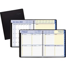 """At-A-Glance QuickNotes Planner - Julian Dates - Weekly, Monthly - 1 Year - January 2021 till December 2021 - 8:00 AM to 5:00 PM - 1 Week Double Page Layout - 8"""" x 10"""" Sheet Size - Wire Bound - Black - Simulated Leather - Bilingual - 1 Each"""