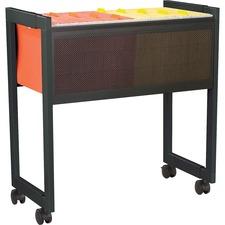 "Safco 5352BL Adjustable Mobile File Cart - 4 Casters - 2.50"" (63.50 mm) Caster Size - Steel - 17"" Width x 25.8"" Depth x 27"" Height - Black"
