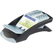 "VISIFIX Desk Business Card Files - 200 Card Capacity - For 2.88"" (73.03 mm) x 4.13"" (104.78 mm) Size Card - Black, Gray"
