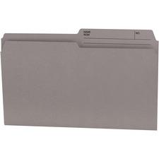"Offix 1/2 Tab Cut Legal Recycled Top Tab File Folder - 8 1/2"" x 14"" - Kraft - Gray - 70% Recycled - 100 / Box"