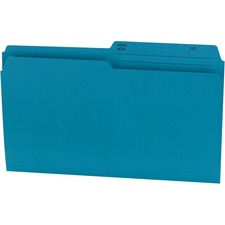 "Offix 1/2 Tab Cut Legal Recycled Top Tab File Folder - 8 1/2"" x 14"" - Kraft - Teal - 70% Recycled - 100 / Box"