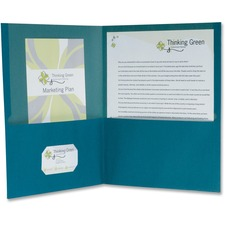 "TOPS Recycled Twin Pocket Portfolio - Letter - 8 1/2"" x 11"" Sheet Size - 100 Sheet Capacity - 2 Pocket(s) - Fiber - Blue - Recycled - 10 / Pack"