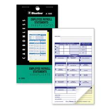 "Blueline A1000 Payroll Statement Book - 2 Part - Carbonless Copy - 3 1/2"" x 6 1/2"" Sheet Size - White Sheet(s) - Black Cover - 1 Each"