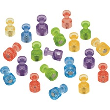 "Quartet Magnetic Pushpin - 0.39"" (10 mm) Diameter - 6 Sheet Capacity - 20 / Pack - Assorted"