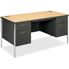 "HON Mentor 88962 Pedestal Desk - 60"" x 30"" x 29.5"" - Double Pedestal - Rounded Edge - Material: Steel - Finish: Charcoal, Natural Maple"