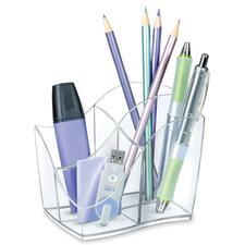"""Ellypse Pencil Holder - 3.56"""" (90.42 mm) x 3.50"""" (88.90 mm) x 4.60"""" (116.84 mm) x - 1 Each - Crystal Clear"""