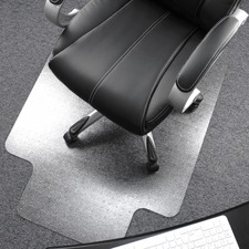 "Cleartex Ultimat Low/Medium Pile Carpet Chairmat w/Lip - Carpeted Floor, Floor, Carpet, Home, Office - 53"" (1346.20 mm) Length x 48"" (1219.20 mm) Width x 90 mil (2.29 mm) Thickness - Lip Size 20"" (508 mm) Length x 10"" (254 mm) Width - Rectangle - Polycarbonate - Clear"