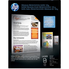 "HP Premium Laser Print Presentation Paper - Letter - 8 1/2"" x 11"" - 32 lb Basis Weight - Glossy - 97 Brightness - 250 / Pack - White"