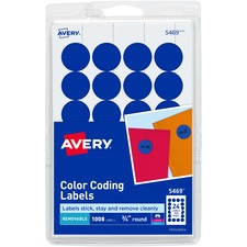 AVE 05469 Avery Custom Print Round Color-coding Labels AVE05469