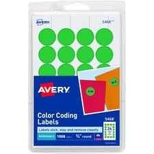 AVE 05468 Avery Round Removable Custom Color-coding Labels AVE05468