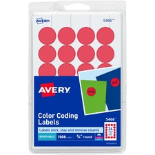 AVE 05466 Avery Custom Print Round Color-coding Labels AVE05466