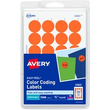 AVE 05465 Avery Custom Print Round Color-coding Labels AVE05465