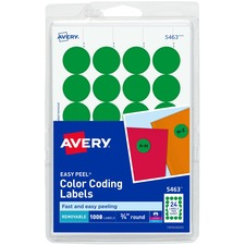 AVE 05463 Avery Custom Print Round Color-coding Labels AVE05463
