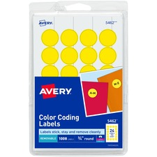 AVE 05462 Avery Custom Print Round Color-coding Labels AVE05462