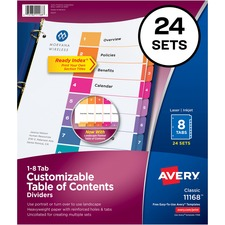 """Avery® Ready Index Customizable TOC Dividers - 192 x Divider(s) - 1-8, Table of Contents - 8 Tab(s)/Set - 8.50"""" Divider Width x 11"""" Divider Length - 3 Hole Punched - White Paper Divider - Multicolor Paper Tab(s)"""