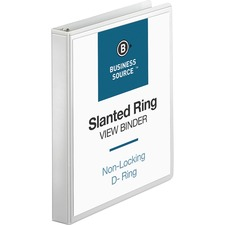 BSN28440 - Business Source Basic D-Ring White View Binders