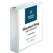 "Business Source Basic D-Ring White View Binders - 2"" Binder Capacity - D-Ring Fastener(s) - Polypropylene - White - 680.4 g - 1 Each"