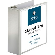 BSN28444 - Business Source Basic D-Ring White View Binders